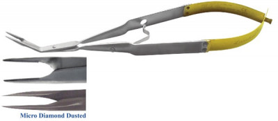 N-S Forceps 45 Degree with Titanium carbide coating and mm markings, With thumb lick